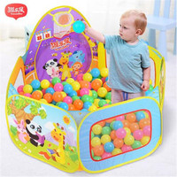 YLB Indoor&Outdoor Children Fit ball Toys Kids Pop Up Play Tent Crawl Tunnel & Ball Pit with Basketball Hoop Playhouse