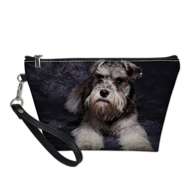 Noisy Designs Makeup Bag Schnauzer Pattern Organizers Bags for Women Girls Travel Make Up Case Functional Cosmetics Toiletry B