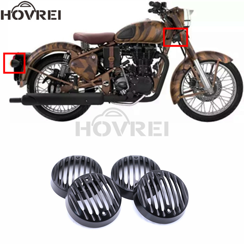 4pcs set new rerto motorcyle CNC turn signal Grill Mask Protector Guard for Royal Enfield turn