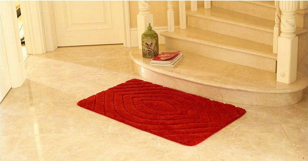 NiceRug tapis de salle de bain antidérapant rouge foncé microfibre tapis de salon tapis de sol/tampons pour la décoration de la porte de plancher de cuisine - 3
