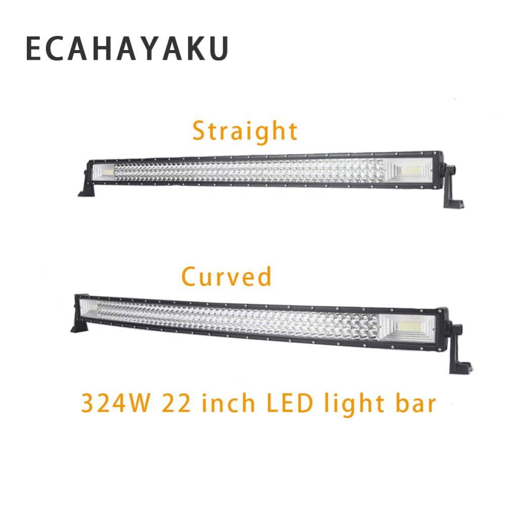 ECAHAYAKU 1x 324w 22inch waterproof hot Straight Curved LED Work Light Bar for SUV 4WD Boat 4x4 Truck ATV Offroad car styling