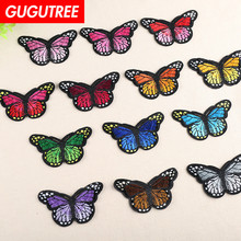 GUGUTREE embroidery buttlefly patches animal badges applique for clothing YX-259