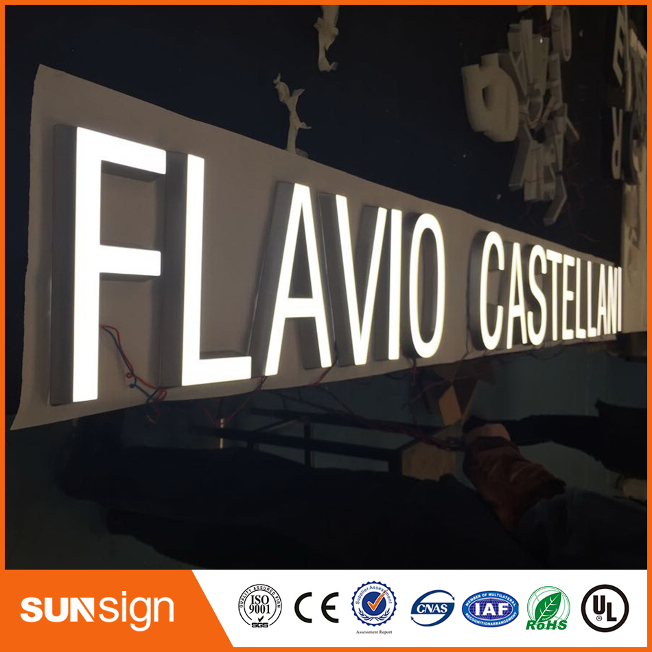 Stainless Steel Side LED Frontlit Resin Indoor Sign