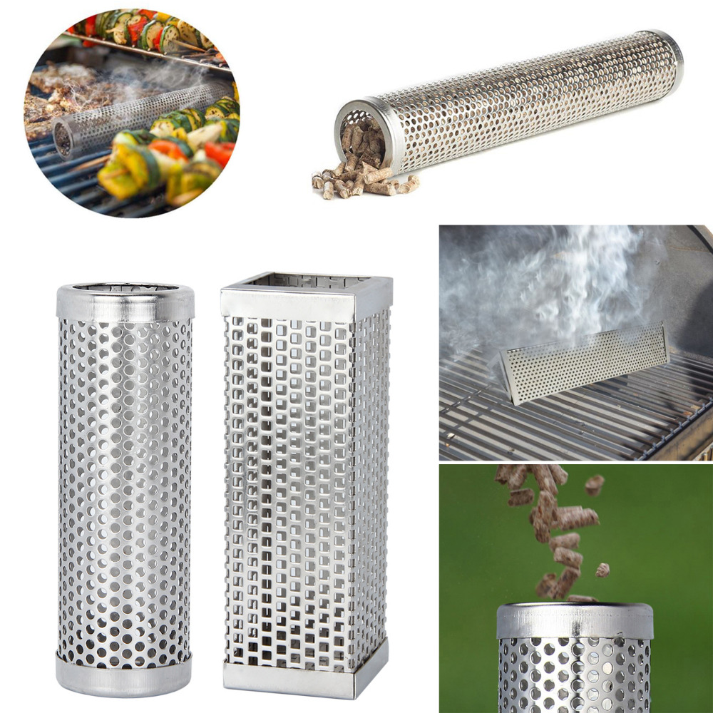 Stainless Steel BBQ Grill Smoking Mesh Tube Smoker Wood Pellet Outdoor BBQ Smoker Supplies Tools Accessories image