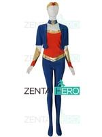 Free Shipping Navy Blue And Red Wonder Woman Cosplay Costume Spandex Comic Female Superhero Costume Halloween Bodysuit