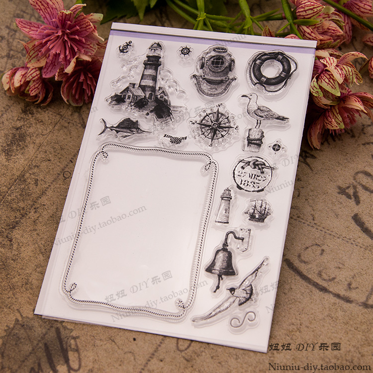 Vintage nautical scrapbook DIY transparent stamp album cards PDA finished rubber stamp seal YJ6610 diy scrapbook albums balloon rubber stamp scrapbook album pda cake dog seal transparent retro girl seal ball animal clear stamps