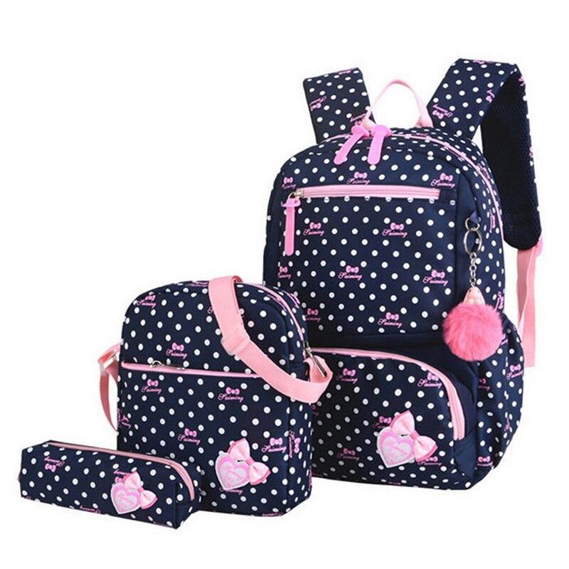 3pcs Children Kids Travel Bag Backpack Lightweight Printing School Bags For Girls Teenager Schoolbag Fashion School Backpacks(China)