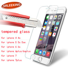 SRLEEKING glass on the for iPhone 5s 4s Tempered Screen Protector for iPhone 6s 6plus for iphone 7 8 X for iphone 7plus glass(China)