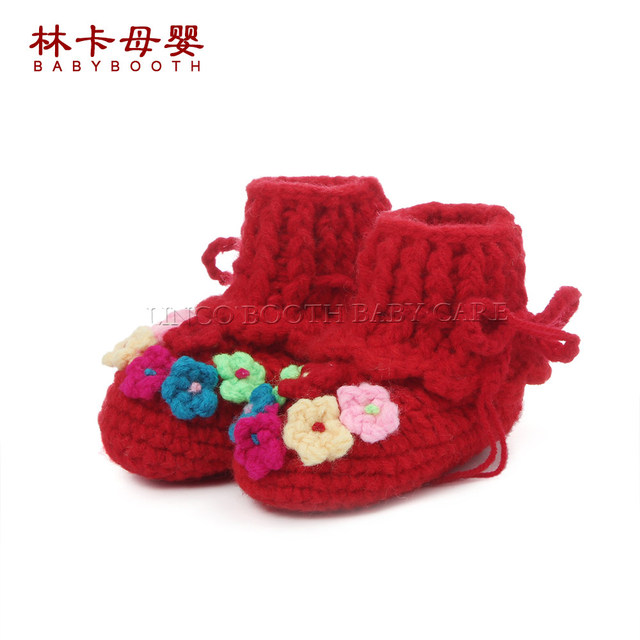 hotsale red color baby girls sweet handmade crochet baby shoes
