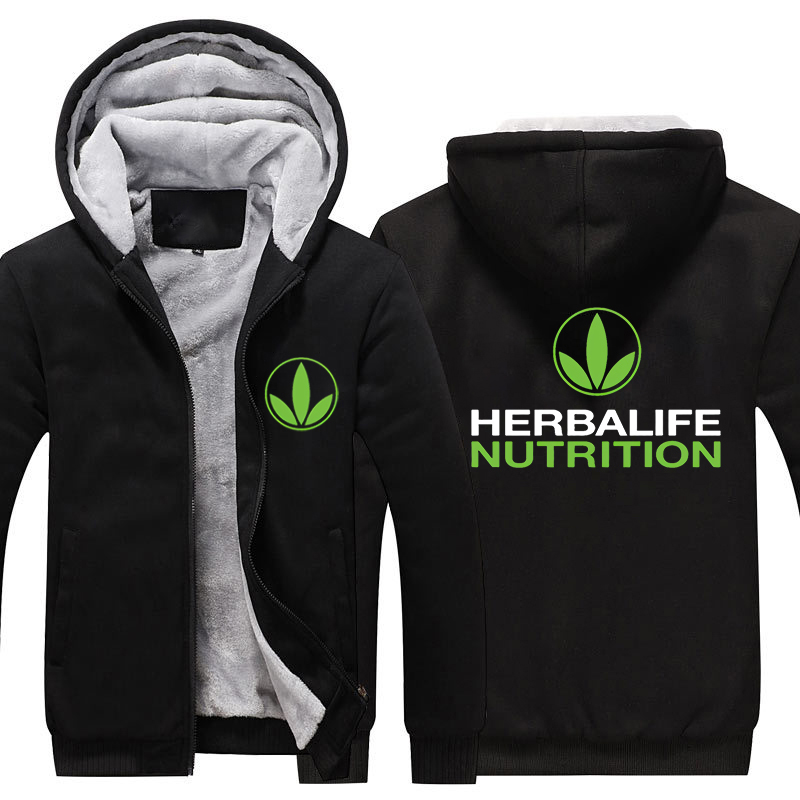 Herbalife nutrition Printed Thicken Hoodie Men Women Warm Hoodie Green Logo Herbalife Graphic Winter Fleeece Hoodie