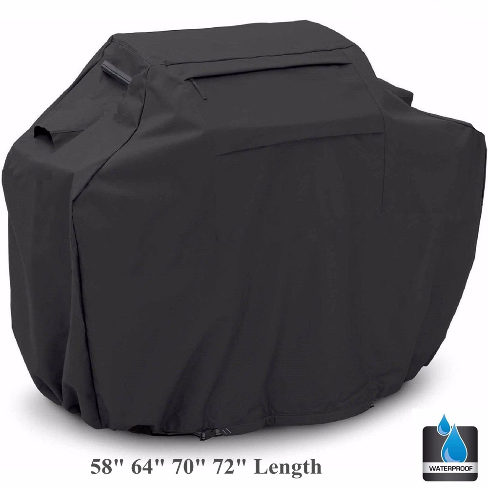 Black BBQ Gas Grill Cover Barbecue Shield Air VentsHeavy Duty Waterproof Outdoor Weber Lower 58 64 70 72 New