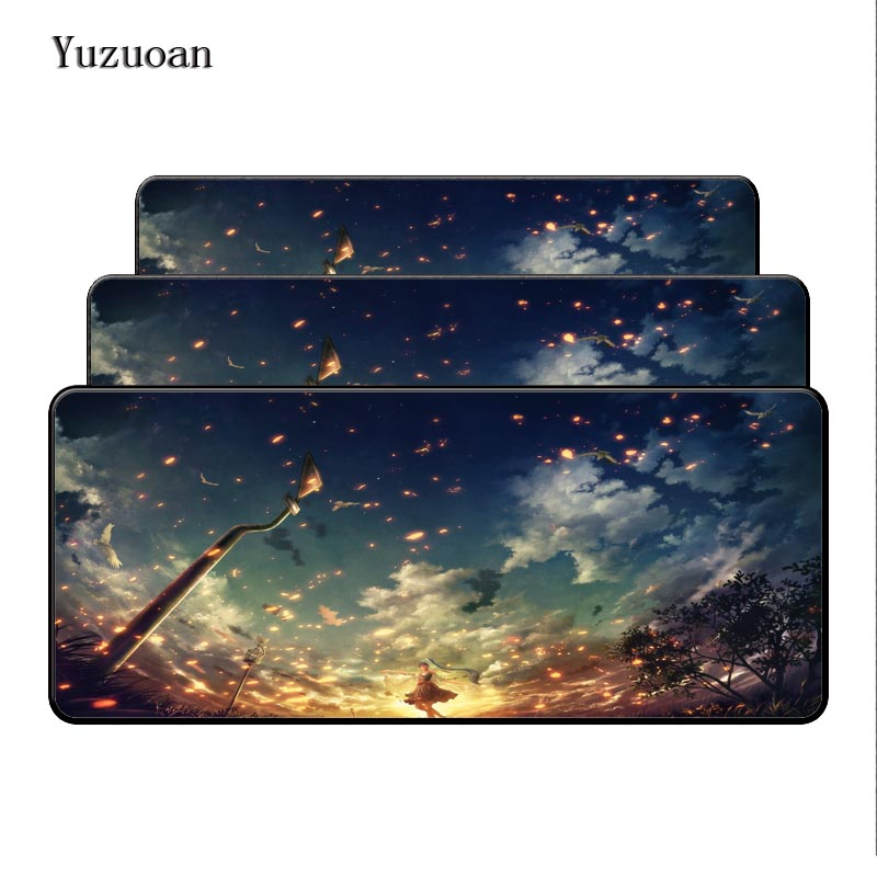 Yuzuoan Anime Girl Blue Sky Customized Free Shipping Large Rubber Overlock Edge Size For 400x900x4mm Birthday Gift For CS Go