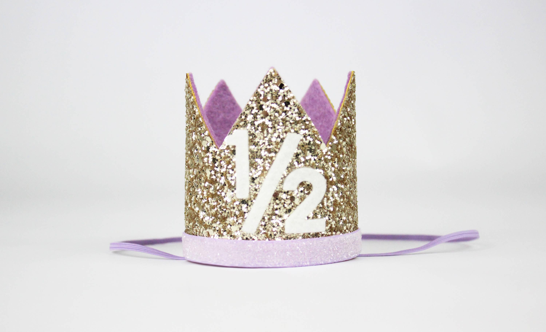 Baby Girl Half Birthday Glitter Hat 1 2 Birthday Crown Half Birthday Girl Crown 6 Months Photo Prop Pale Gold And Purple 1 2 Party Hats Aliexpress