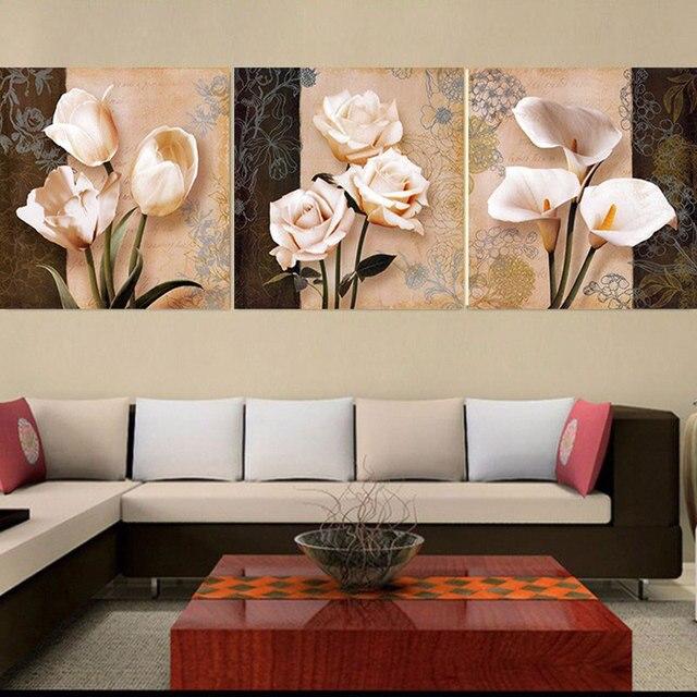 3 Panneau Imprimé Vintage Affiche Fleurs Toile Peinture Moderne Mur Photos Pour  Salon Magasin Décoration Peinture