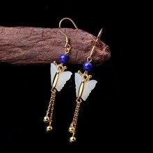 100% S925 solid sterling silver jewelry earrings handmade ladies butterflies natural Hetian jade earrings character silver product s925 pure silver jewelry fashion earrings wholesale handmade lady hetian jade earrings