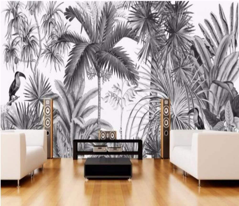 Custom Wallpaper European Vintage Hand-painted Black And White Coot Tufts Jungle Mural TV Background Wall 3d Wallpape Mural