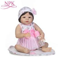 56CMChristmas Gifts Bebes Reborn Lovely Silicone Reborn Baby Dolls Toys Children Gift Dolls Reborn With Pacifier Bottle Snowman