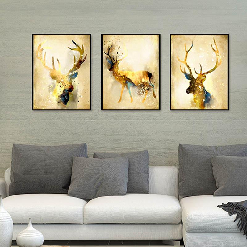 Triptych Nordic Abstract Gold Deer Elk Canvas målning Noble Art - Heminredning
