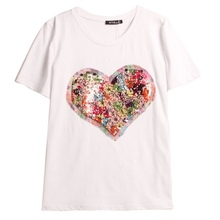 Women's Clothing Sequins Heart Embroidery Women T-Shirt Casual Female Short Sleeve O-neck Tees T-shirts Tops