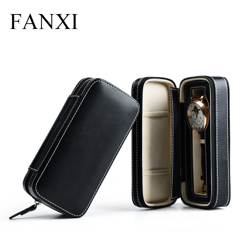 FANXI Free shipping Black Leather PU Zipper single watch travel portable watch box Wrist watch receiving box 1