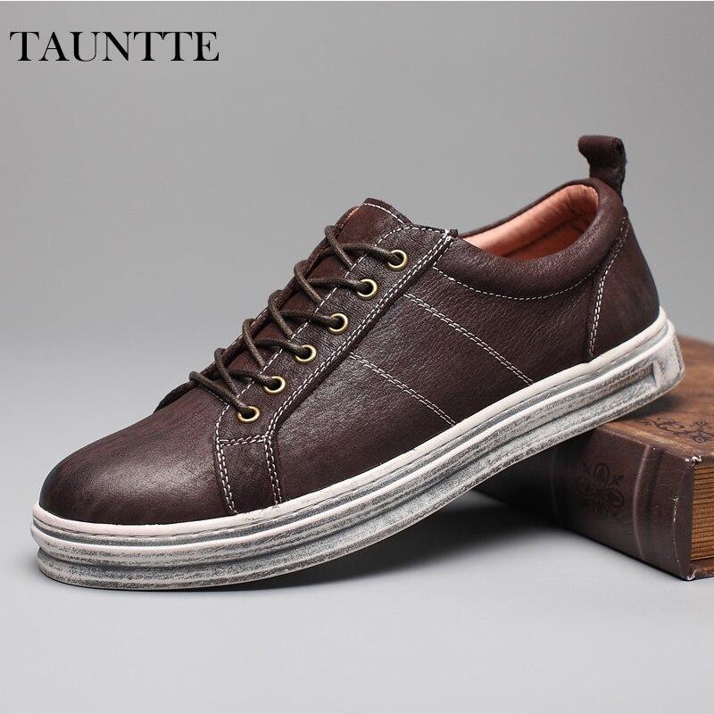 Tauntte 2017 New High Quality British Genuine Leather Men Shoes Retro Youth Low Cut Casual Shoes парфюмированный гель для душа истинный эликсир