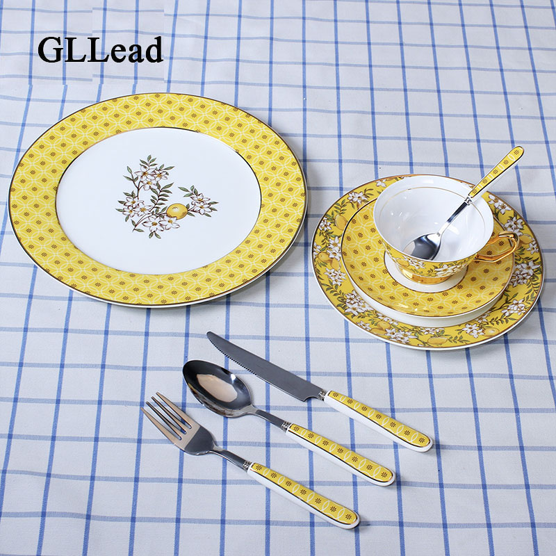 GLLead European Bone China Tableware Dinner Service Western Steak Plate Dessert Cake Dishes Coffee Cup And Saucer Cutlery Set