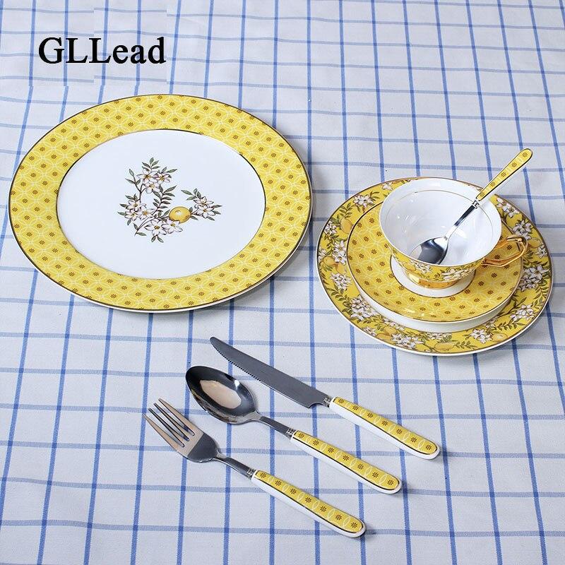 GLLead os de table européen porcelaine | Service de table assiette à Steak occidental plats à Dessert, plats à gâteau tasse à café et sous-tasse Service de couverts
