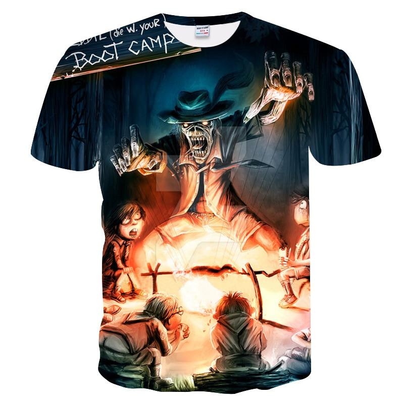 iron maiden shirt band men T shirt music T-shirt boot campTshirt Gothic Tops Rock clothes motorcycle clothing Punk Hot sales
