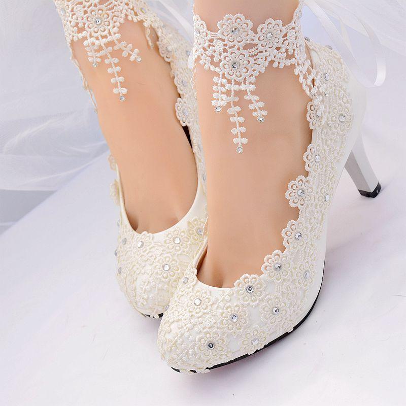 Ivoire dentelle cristal cheville bretelles femme chaussures de mariage HS383 bride plates-formes grande taille 8 cm 3 pouces talon gland mariée brides pompes