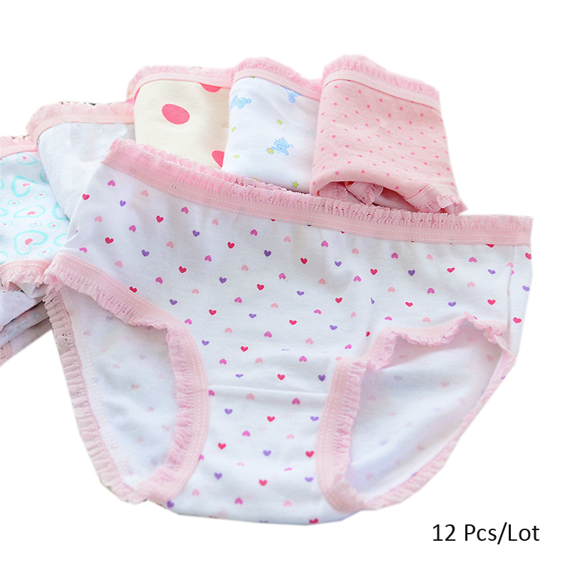 12pcs/lot Cheap Panties 2-7 Years Kids Girls Printed Underwear Girls Pant Children's Elastic Waist Pants Random Mix With Color