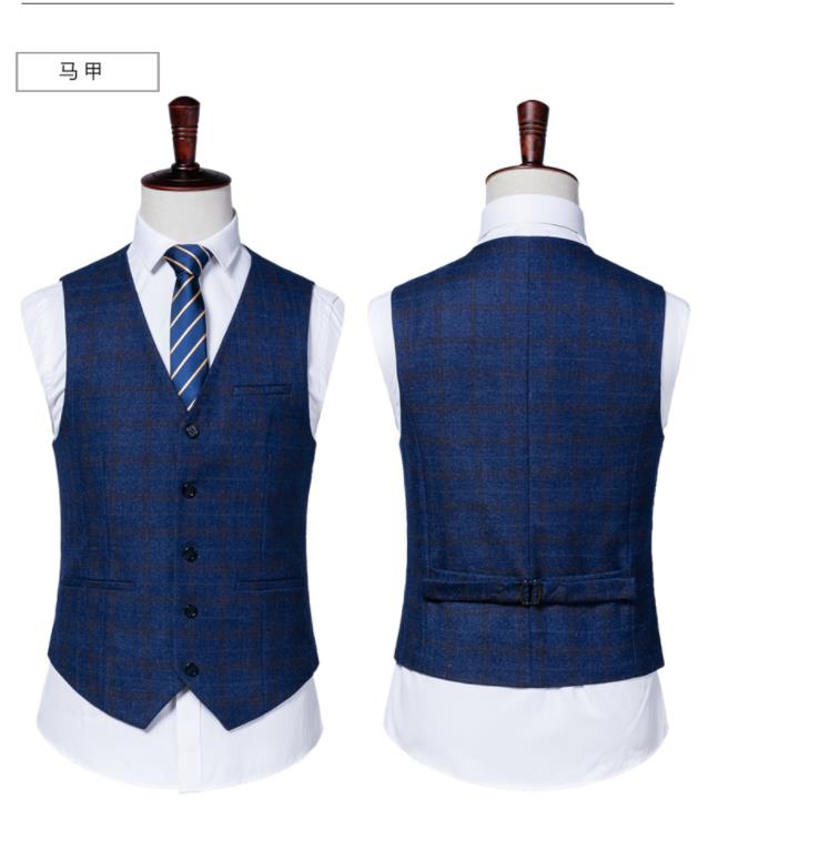 Suit As Same Gilet Sur Hommes Pantalon Costume Bleu Mesure Smoking 2019 Mariage Mode veste Rayé Maigre Fit Picture D'affaires De Plaid pqCTw