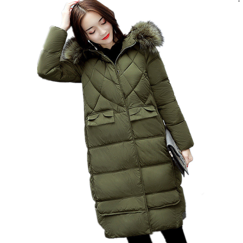 Winter Parka Women Thickening Fur Collar Hooded Large Size Warm Cotton Padded Coat Elegant OverCoat Jacket TT2974 mcckle winter jacket with fur collar hooded cotton padded long puffer coat outwear women fashion thickening warm parka overcoat