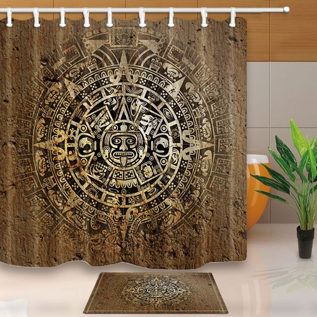 Native Decor Ethnic Indian Style With Aztec Calendar In Vintage Stone Shower Curtain Sets