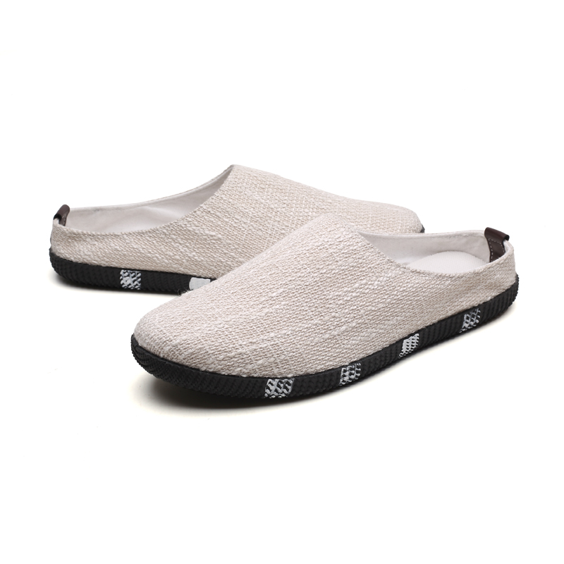 Men casual Slippers Breathable men's loafers indoor male Half flats Canvas Shoes Breathable plimsolls Slip On shoe RAPQUE foot sequins slip on plimsolls