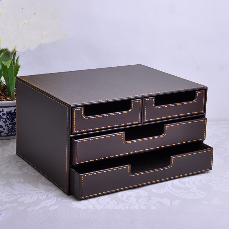 3layer 4drawer wood leather desk set filing cabinet storage box office organizer file drawer document container brown 216b