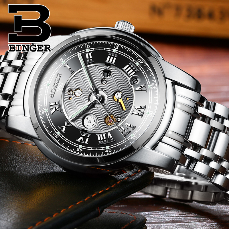 Relogio 2019 BINGER Business Mens Mechanical Watches Automatic Waterproof Self Winding Wristwatches Clock Hombre With Gift BoxRelogio 2019 BINGER Business Mens Mechanical Watches Automatic Waterproof Self Winding Wristwatches Clock Hombre With Gift Box