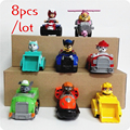 8PCS Russian Cartoon Canine Patrol Puppy Dog Toys Sliding Car Action Figures Doll Model Kids Gift Patrulla Canina juguetes