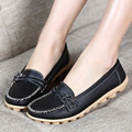 2016 New Women Flats High Quality 100% Genuine Leather Ladies Flats Loafers Breathable Casual Flat Heel Women Shoes 13 Colors