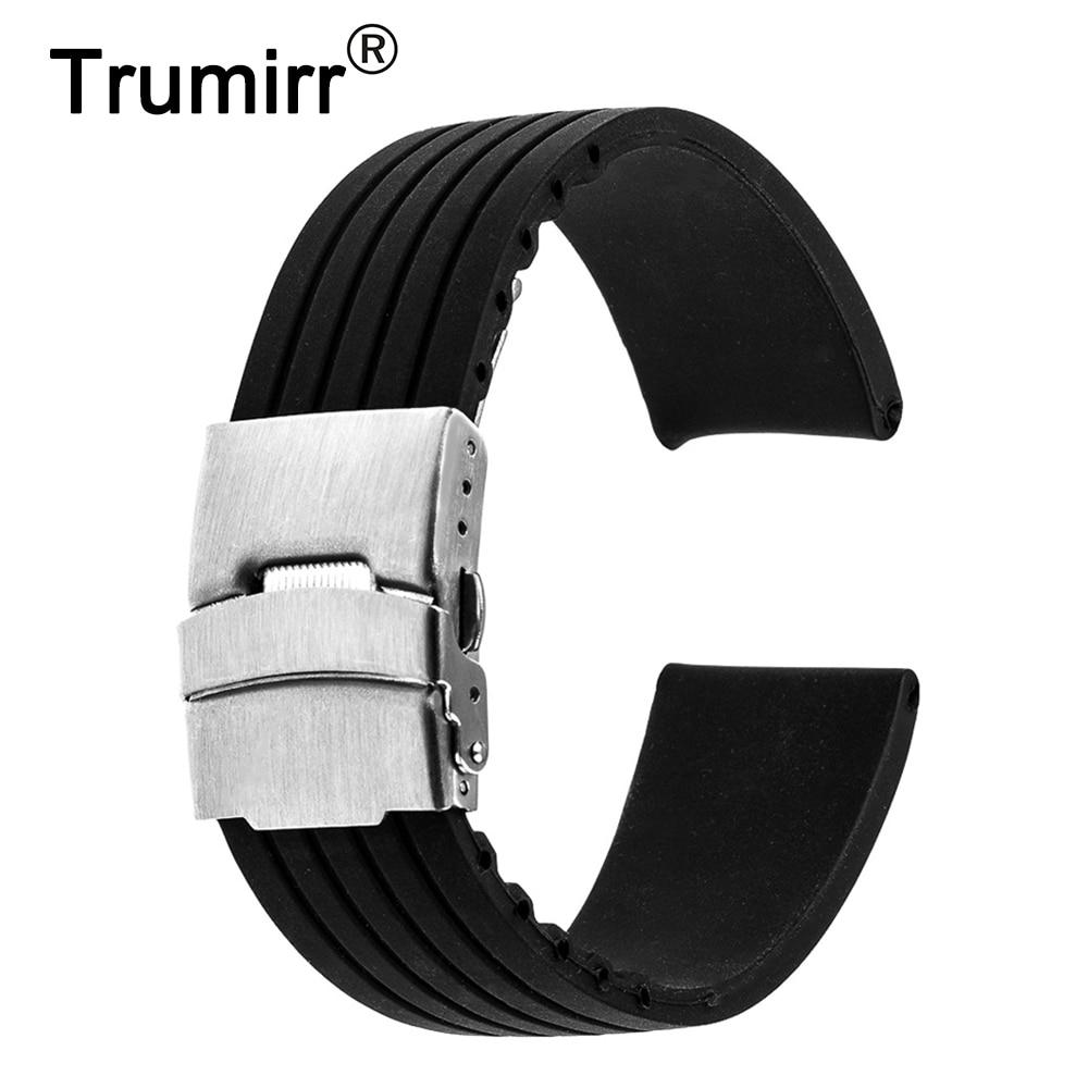 22 mm-es szilikongumi óra sáv az Asus Zenwatch 1 2 22 mm-es LG G karóra W100 / R W110 / Urbane W150 műanyag heveder karkötő fekete