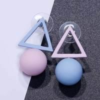 FAMSHIN Triangle Different Candy Color Earrings For Women 2017 Fashion Stud Earrings From Korean Earings Jewelry 2