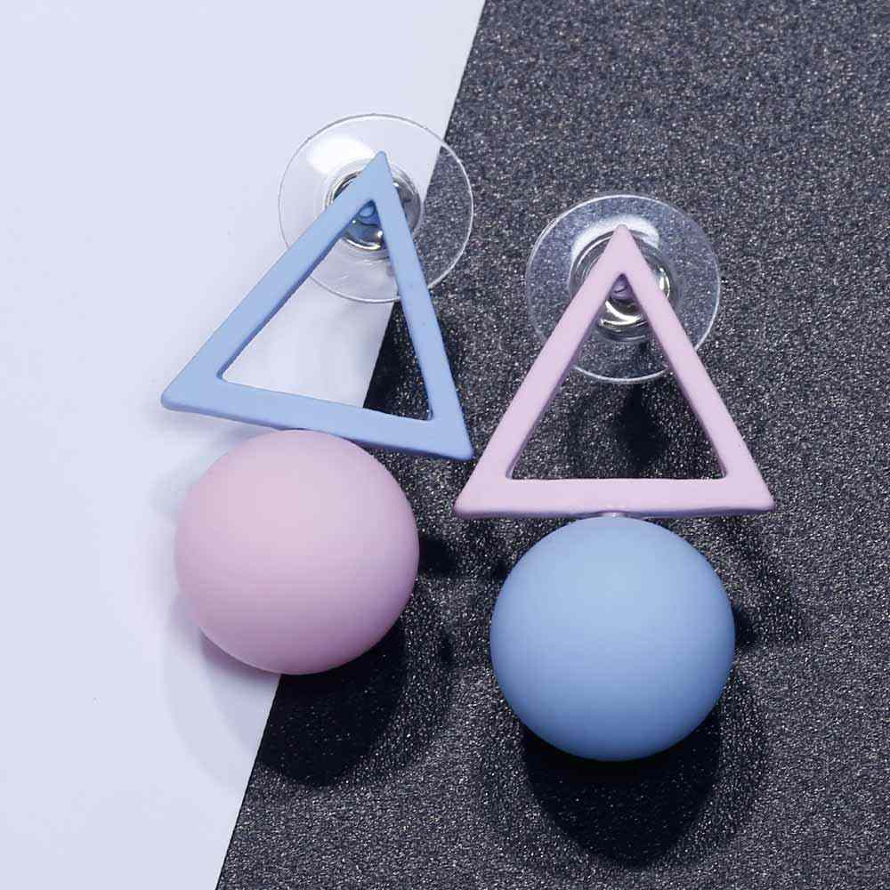 FAMSHIN แฟชั่นสามเหลี่ยมที่แตกต่างกัน Candy สีจำลองไข่มุกต่างหูผู้หญิง 2018 แนวโน้มใหม่ต่างหูเครื่องประดับของขวัญ Party