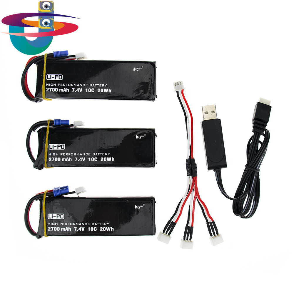 Hubsan H501C H501S X4 X4 7.4V 2700mAh lipo battery 10C 20WH battery with usb Charger cable Set For RC Quadcopter Drone Parts 3pcs battery and european regulation charger with 1 cable 3 line for mjx b3 helicopter 7 4v 1800mah 25c aircraft parts