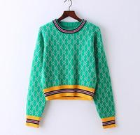 Retro Chi Geometric Hit Color Jacquard O Neck Long Sleeve Knitted Pullover Sweater Mori Girl