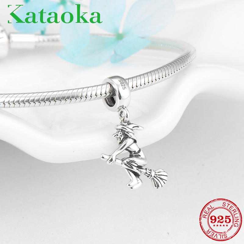 Fashion Magic witch with Broom charms Zircon 925 Sterling Silver Pendants Fit original pandora charms Bracelet Jewelry makingFashion Magic witch with Broom charms Zircon 925 Sterling Silver Pendants Fit original pandora charms Bracelet Jewelry making