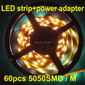 5M/lot AC220V 230V 240VSMD 5050 led strip light+Power plug,warm white/white,60leds/m waterproof