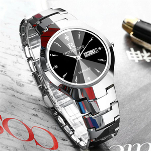 Image 4 - 2018 יוקרה מותג מאהב שעון זוג עמיד למים טונגסטן פלדת גברים נשים זוגות אוהבי שעונים סט שעוני יד Relogio Feminino