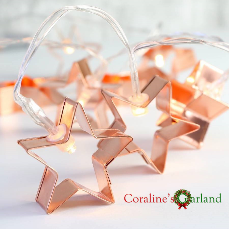 20 Copper Star Cookie Cutter Battery Powered String Lights Fairy Lights String for Holiday Christmas Party Wedding Decoration