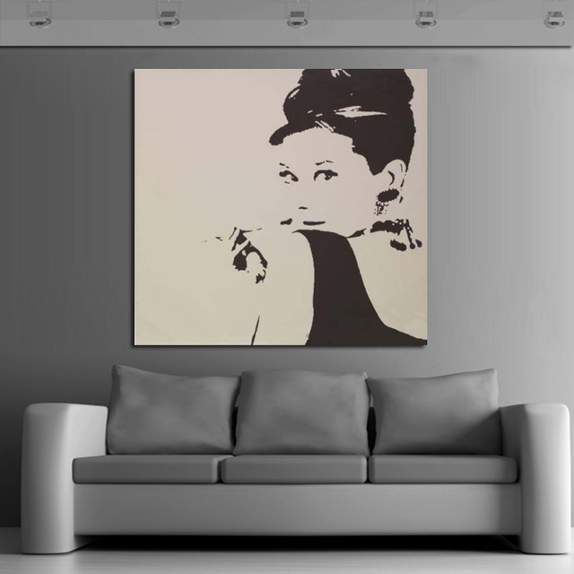 Free Shipping 100% Hand Painted Famous Audrey Hepburn Wall Art Pop Art Oil  Painting On