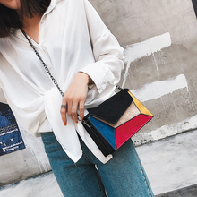 Hit Color Patchwork Crossbody Bags For Women Scrub PU Leathe