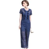 Women Jumpsuit Young Fashionable Patchwork Elegant Short Trousers Blue Lace Hollow Long Pants Sliming 2019 Spring New Arrival